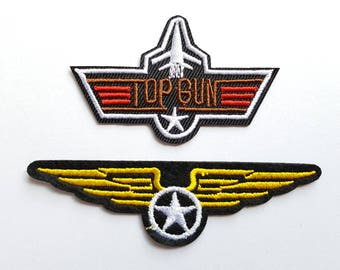 2pcs TOP GUN Maverick Embroidered Applique Patches. Iron On or Sew On Badges for T-shirts, Jeans, Bags. Air Force WingsPatches