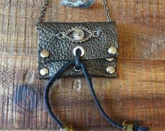 Healing Crystal Holder - Genuine Leather Jewelry - Evil Eye Pouch Necklace - Metallic grey - Guitar Pick Holder - Amulet Bag Necklace
