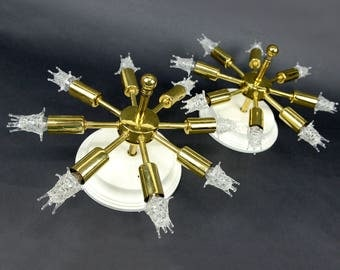 Pair starburst lights, sconces, ceiling lights, mid century, atomic, retro, space age, fixture, brass tone, mod, mid century modern,sunburst