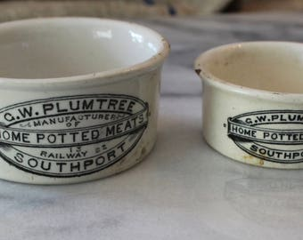 English Southport Potted Meat Container - C W Plumtree