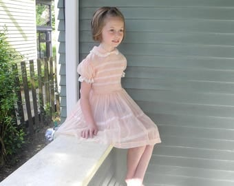 Vintage Girls Clothes | 1950's Peach Chiffon Girl's Dress | Vintage Girls Dress | 1950s Girl's Dress | Size 6