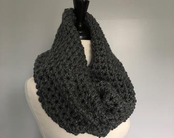 Crochet Chunky Neckwarmer - CHARCOAL