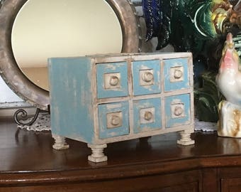 Small Footed Apothecary - Shabby Chic - Rustic 6 Drawer Storage Box - Chippy Distressed