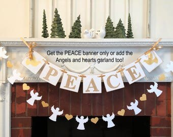 PEACE Banner / Vintage Inspired Christmas Banner / Gold Holiday Garland / Christmas Peace Banner / PEACE Garland/ Holiday Photo Prop