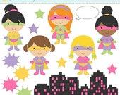 75 OFF SALE digital clipart superhero clip art super hero girls - Super Girls Clipart