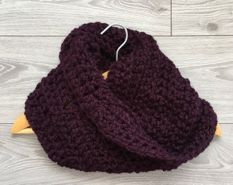 Ready to Ship - Crochet Super Soft Mobius Scarf / Cowl in Eggolant Purple