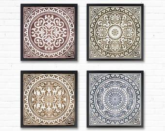 Posters Wall Art Prints Geometric Art Geometric Prints Geometric Print Tile Art Geometric wall art Geometric Poster set of 4 8x8 printable
