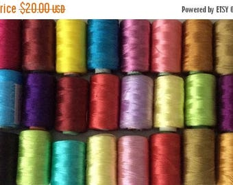 15% off on Silk Thread, 20 Spools Wholesale Indian Silk Thread, Art Silk Thread, Hand And Machine Embroidery Thread