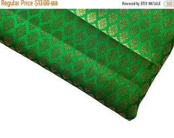 15% off on One yard of Indian brocade fabric in  green and gold With small motifs/Indian art silk sari fabric/costume fabric/benarasi brocad