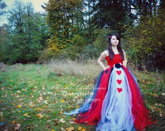 ADULT Queen of Hearts Tutu Dress SHort or long