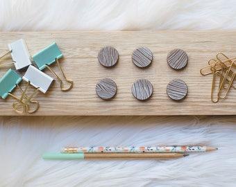 Hand Stamped Wood Grain Magnet Set | White Pattern | Set of 6