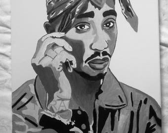 2PAC - TUPAC SHAKUR Hand Painted Oil Painting 16 x 20