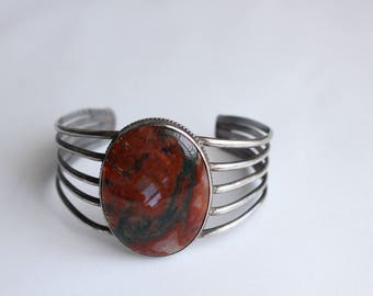 Sterling Silver and Agate Bracelet -Wire Cuff