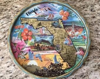 Vintage Colorful Florida Souvenir Tin Serving Tray