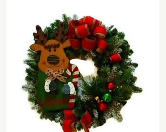 ON SALE 50% OFF Christmas Wreath Reindeer Wreath Rustic Christmas Wreath Rustic Holiday Wreath Ornament Wreath Holiday Door Winter Home Deco