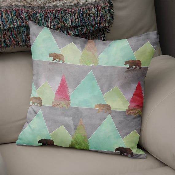 Modern Moose Pillows : Mountain Throw Pillow Modern Rustic Pillow Cover Grizzly