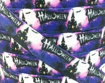 """5/8"""", Haunted House FOE, Ghost Elastic, Halloween FOE, Ghost Fold Over Elastic, Fold Over Elastic, Halloween Hair Ties, DIY Hair Ties"""