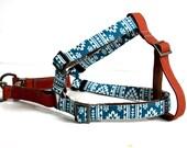 Southwestern BOHO Step In Dog Harness - Antique Brass, Brown, Ocean Blue
