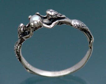 Reserved for CaptRick Only ~ Two Mermaids Ring with Pearl in Sterling Silver Size 3 to 9