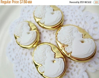30% OFF SALE Cameo Buttons White Gold Oversized Shank Oval (12)