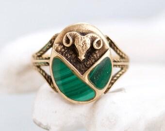 Bull's Head Ring - Malachite and Brass - Vintage Boho Ring