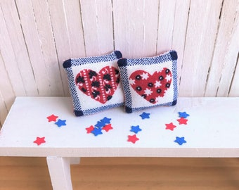 Miniature Pillows With Red, White, and Blue Hearts - Perfect for Summer or 4th of July Decor for Your Mini Cottage