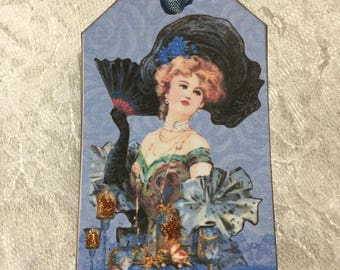 Vintage Women Of The Times Gift Tags, Glittered, Gift Items, Party Favors, Stationery, Notecards