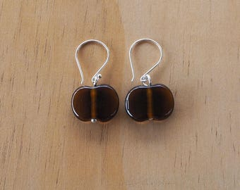Recycled Glass Earrings. Glass Beads made from a Beer Bottle