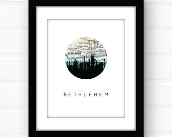 Bethlehem steel stacks art | Bethlehem PA art print | Pennsylvania wall art | Bethlehem wall art | Bethlehem steel stacks silhouette art