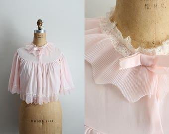 1950s Pale Pink Bed Jacket Negligee /50s Lingerie Glam / Pin Up Lingerie / Vintage Camisole / Vintage Pink Jacket / Bridal / Cape /Size S/M