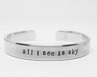 All I see is sky: Hand Stamped Aluminum Dear Evan Hansen cuff bracelet by fandomonium