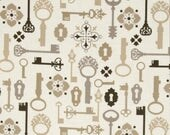 17 X 20 LAMINATED cotton fabric remnant (similar to oilcloth) - Lock & Key - Secret Garden - BPA free - Approved for children's products