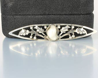 Art Deco Pearl Brooch, Baroque Pearl sterling Leaf Brooch, 1920s jewelry