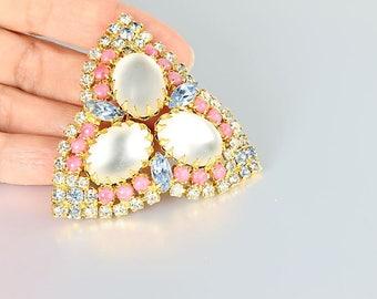 Geometric Hobe Brooch, Pastel Pink Blue rhinestone Brooch, Frosted glass vintage jewelry