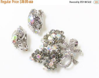 ON SALE Pink Smokey Rhinestone Brooch Earrings signed Continental Smoky