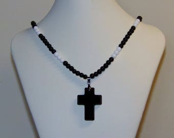 Beaded Necklace, Cross Necklace, Black Cross, Black and White Beaded Necklace, Black Necklace, Pendant Necklace