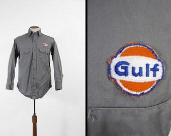 Vintage Gulf Oil Mechanic Shirt Sweet Orr Workwear Twill Button Up - Size Medium