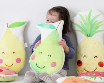 Pear Cushion Pear Pillow Fruit Cushion Kawaii Pear Cushion Fruit Plush Cute Pear