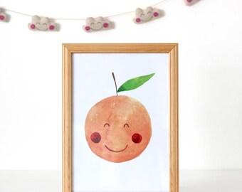 Orange Nursery Print, Nursery Decor, Kawaii Orange Print, Fruit Print, Nursery Print Fruit, Orange Illustration