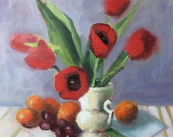 Tulips and Fruit • Original Art • Oil Painting • Daily Painter • Daily Painting