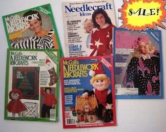 PATTERN SALE! Five vintage Needlework & Crafts magazines 1982-1987~Knit Crochet Sweater patterns, Christmas, Afghans, Toys, cross stitch