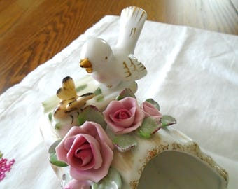 Norcrest Vintage Bird And Bee Planter / Bird And Pink Roses / Fine China / Gold Trim / Collectible