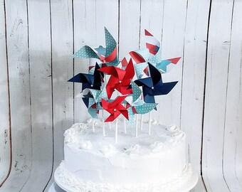 Pinwheel Cake Topper Set of 8 Mini Spinning Patriotic Pinwheels