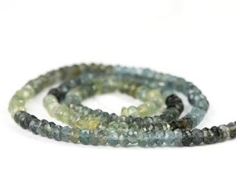SUMMER SALE Moss Aquamarine Micro Faceted Rondelles Set of 10 Shaded Moss Green Grey Blue Semi Precious Gemstone winter color