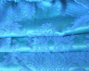 Satin Brocade Curtains, Peacock Blue and Green, Three Pairs Available