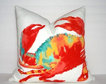 FALL is COMING SALE Outdoor Patio Red Blue Crab Pillow Cover Beach Pillow Cover Ocean Nautical Pillow Cover Size 18x18