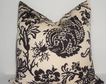 Waverly Schumacher Brown Beige Damask Floral Couch Pillow Covers Choose Size Home Decor by HomeLiving