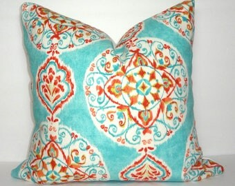 Dena Design Mirage Medallion Floral Print Pillow Cover Turquoise Blue Green Coral Decorative Throw Pillow Cover