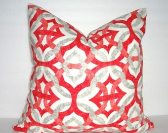SPRING FORWARD SALE Beautiful Coral & Grey Geometric Linen Pillow Cover Decorative Throw Pillow Cover 18x18