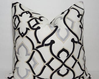 SPRING FORWARD SALE 3Park Black & Silver Geometric Pillow Cover Decorative Throw Pillow Size 18x18